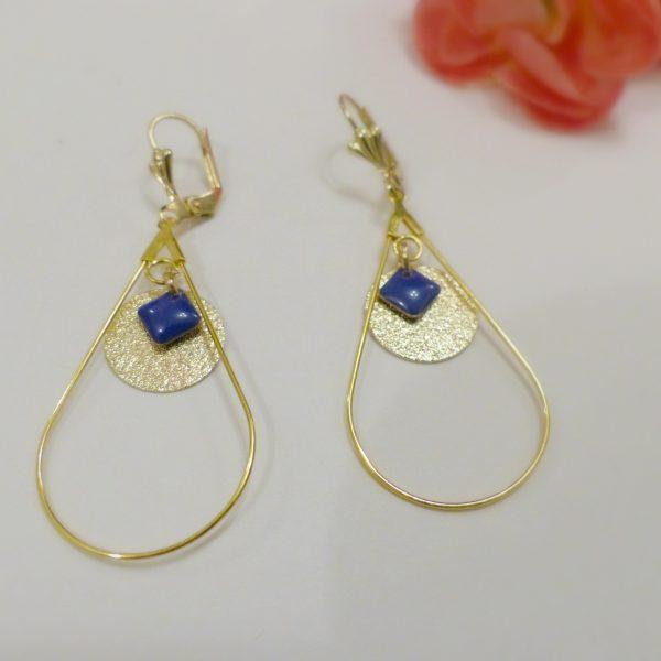 Boucles d oreilles or et bleu Les Crea de Marie