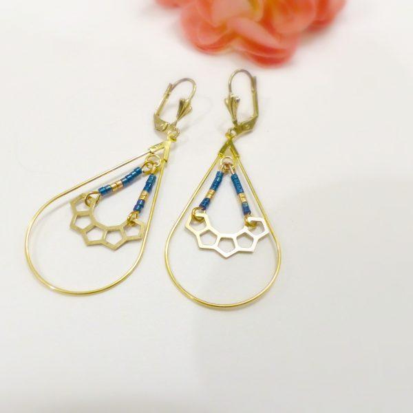 Boucles d oreilles perles or et bleu Les Crea de Marie