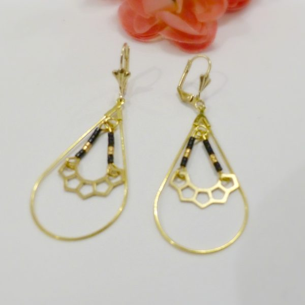 Boucles d oreilles perles or et noir Les Crea de Marie