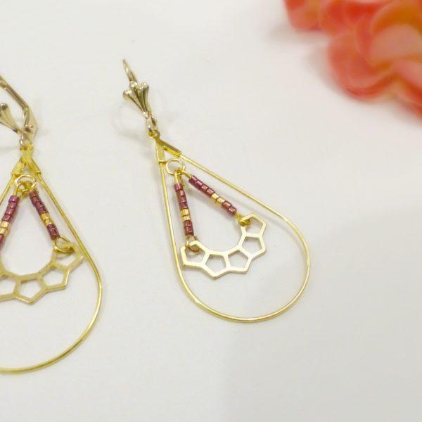 Boucles d oreilles perles or et violet Les Crea de Marie