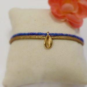Bracelet coquillage or et bleu Les Crea de Marie