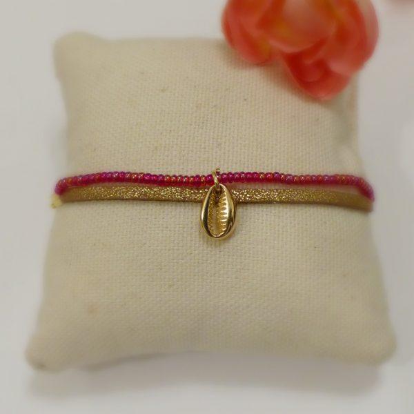 Bracelet coquillage or et rouge Les Crea de Marie