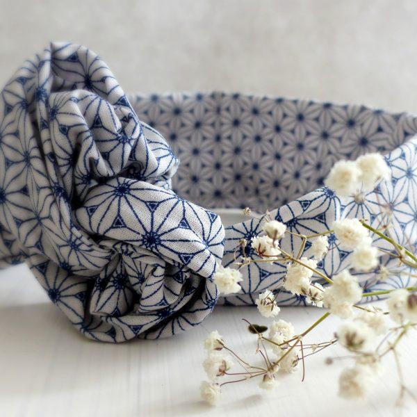 Headband fil de fer Les Crea de Marie Collection Giulietta blanc et bleu jean