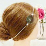 Headband Les Crea de Marie Rosace argentée et roses