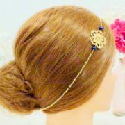 Headband Les Crea de Marie petales de fleurs et perles bleues