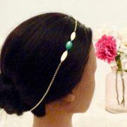 Headband vert et dore Les Crea de Marie