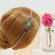 Headband Les Crea de Marie rosace bleue